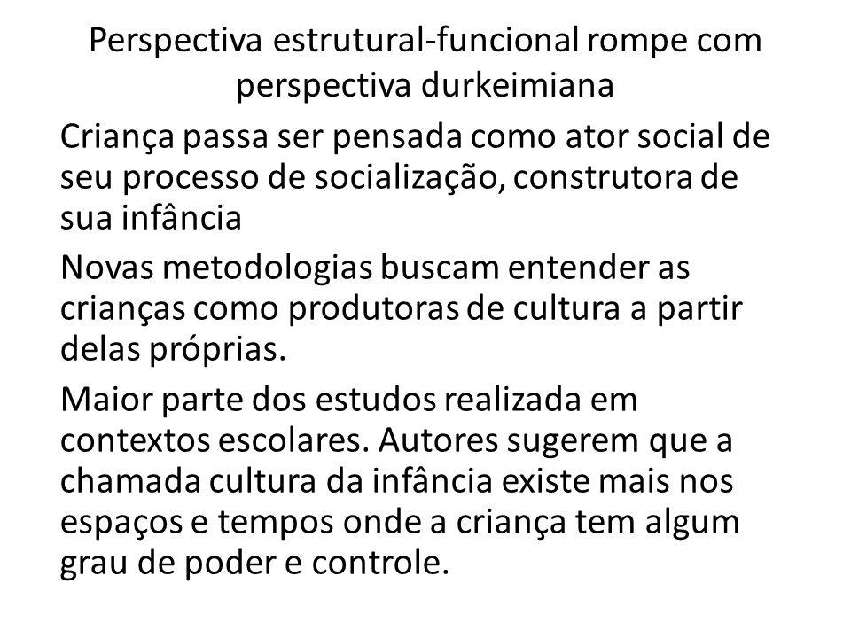 Perspectiva estrutural-funcional rompe com perspectiva durkeimiana Criança passa ser pensada como ator social de seu processo de socialização, constru