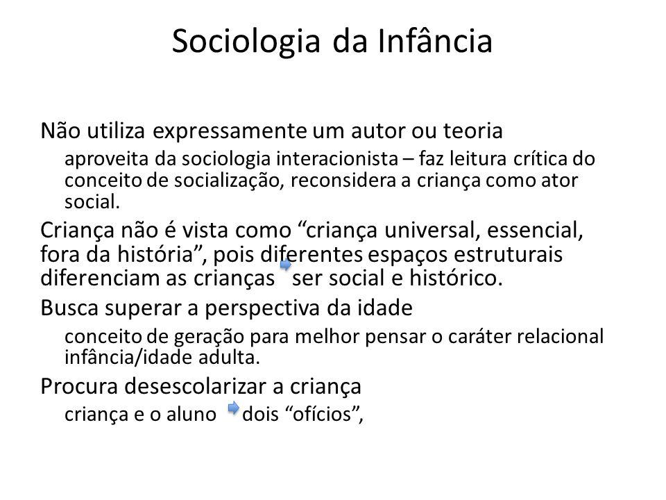 Sociologia da Infância Não utiliza expressamente um autor ou teoria aproveita da sociologia interacionista – faz leitura crítica do conceito de socialização, reconsidera a criança como ator social.