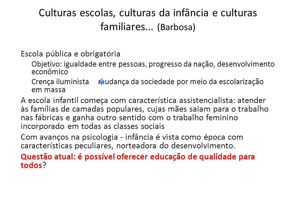 Culturas escolas, culturas da infância e culturas familiares... (Barbosa) Escola pública e obrigatória Objetivo: igualdade entre pessoas, progresso da