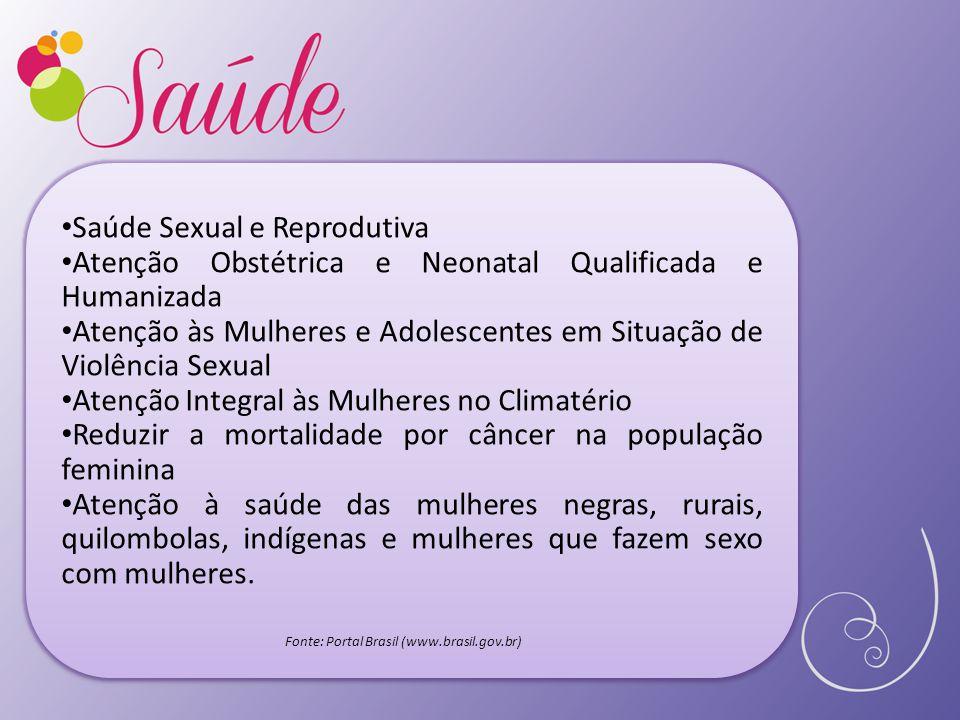 Saúde Sexual e Reprodutiva Atenção Obstétrica e Neonatal Qualificada e Humanizada Atenção às Mulheres e Adolescentes em Situação de Violência Sexual A
