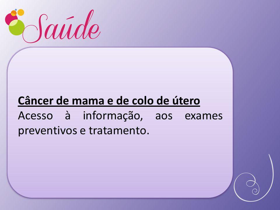 Câncer de mama e de colo de útero Acesso à informação, aos exames preventivos e tratamento.