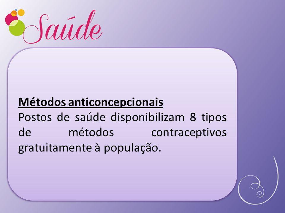 Métodos anticoncepcionais Postos de saúde disponibilizam 8 tipos de métodos contraceptivos gratuitamente à população.