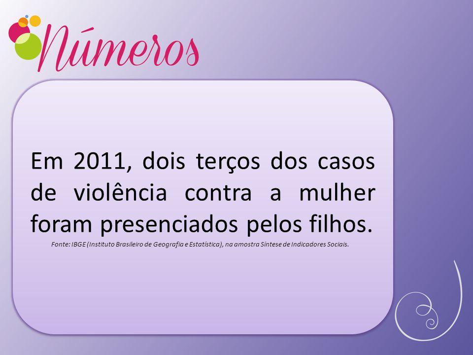 Em 2011, dois terços dos casos de violência contra a mulher foram presenciados pelos filhos. Fonte: IBGE (Instituto Brasileiro de Geografia e Estatíst
