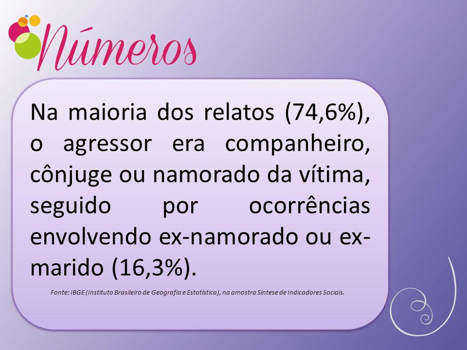 Na maioria dos relatos (74,6%), o agressor era companheiro, cônjuge ou namorado da vítima, seguido por ocorrências envolvendo ex-namorado ou ex- marido (16,3%).