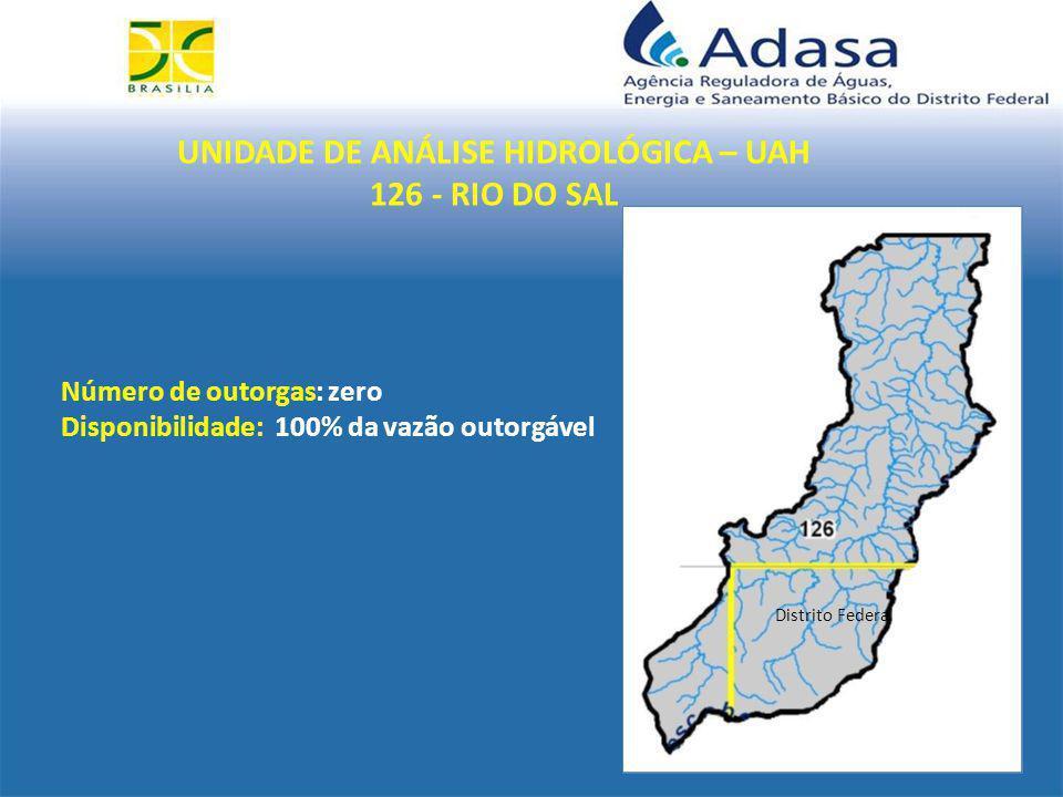 UNIDADE DE ANÁLISE HIDROLÓGICA – UAH 126 - RIO DO SAL Distrito Federal Número de outorgas: zero Disponibilidade: 100% da vazão outorgável