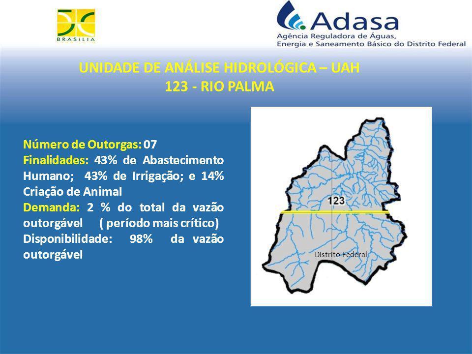 UNIDADE DE ANÁLISE HIDROLÓGICA – UAH 123 - RIO PALMA Distrito Federal Número de Outorgas: 07 Finalidades: 43% de Abastecimento Humano; 43% de Irrigação; e 14% Criação de Animal Demanda: 2 % do total da vazão outorgável ( período mais crítico) Disponibilidade: 98% da vazão outorgável