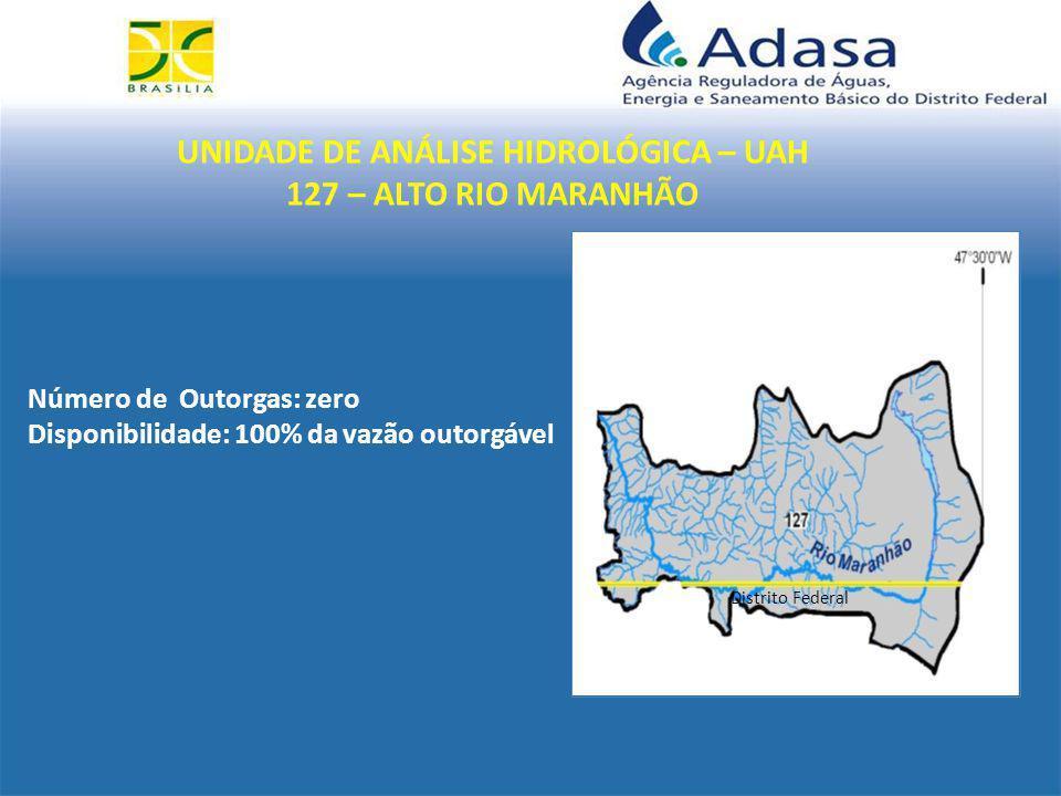UNIDADE DE ANÁLISE HIDROLÓGICA – UAH 127 – ALTO RIO MARANHÃO Distrito Federal Número de Outorgas: zero Disponibilidade: 100% da vazão outorgável
