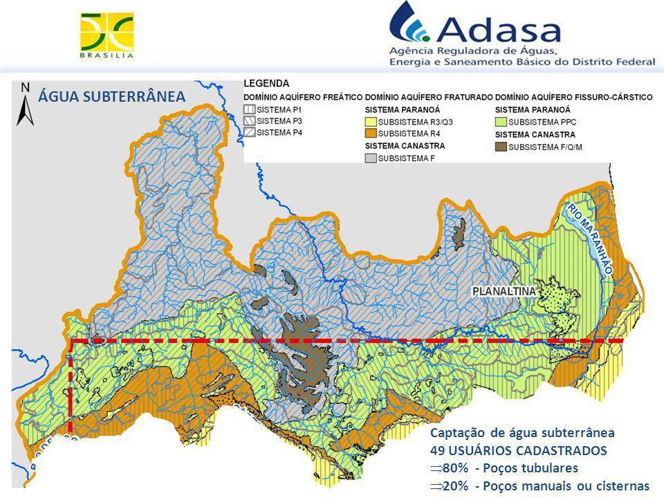 ÁGUA SUBTERRÂNEA Captação de água subterrânea 49 USUÁRIOS CADASTRADOS  80% - Poços tubulares  20% - Poços manuais ou cisternas