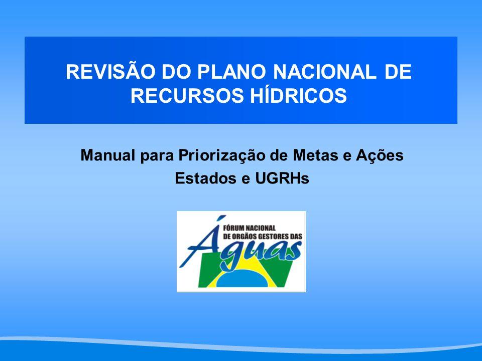 REVISÃO DO PLANO NACIONAL DE RECURSOS HÍDRICOS Manual para Priorização de Metas e Ações Estados e UGRHs