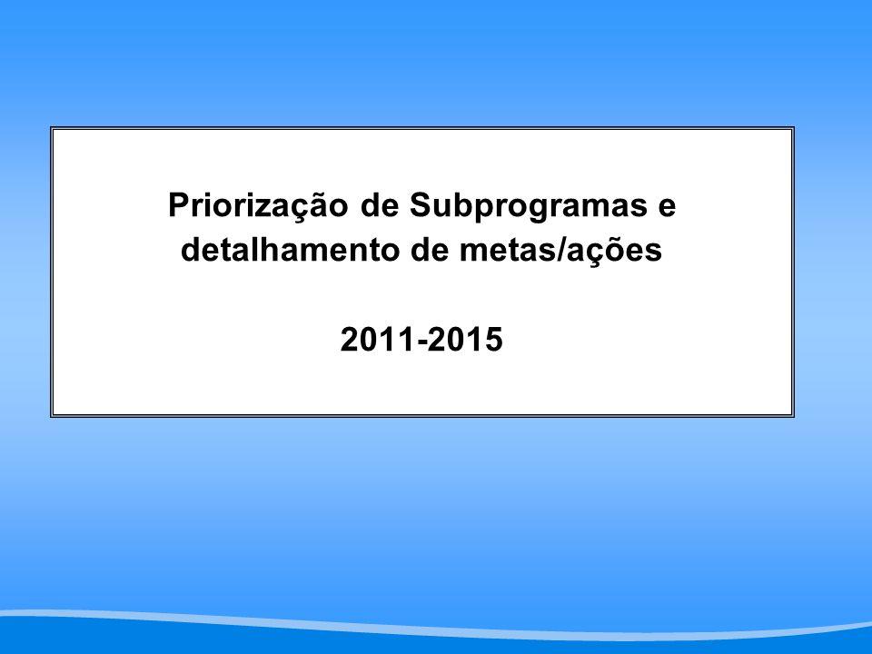 Priorização de Subprogramas e detalhamento de metas/ações 2011-2015