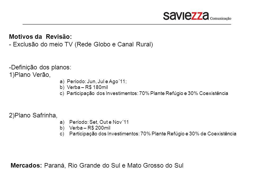 Motivos da Revisão: - Exclusão do meio TV (Rede Globo e Canal Rural) -Definição dos planos: 1)Plano Verão, a) Período: Jun, Jul e Ago´11; b) Verba – R