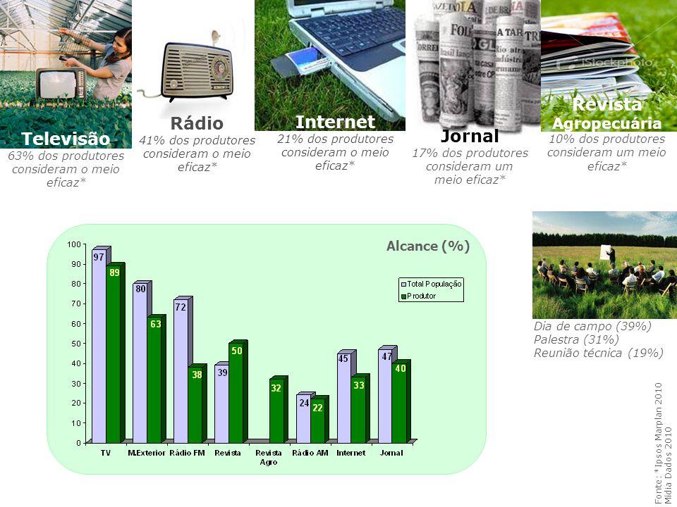 Televisão 63% dos produtores consideram o meio eficaz* Fonte: *Ipsos Marplan 2010 Mídia Dados 2010 Internet 21% dos produtores consideram o meio efica