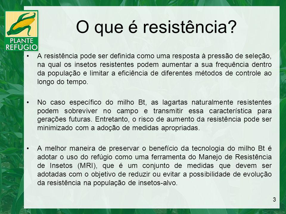 O que é resistência? A resistência pode ser definida como uma resposta à pressão de seleção, na qual os insetos resistentes podem aumentar a sua frequ