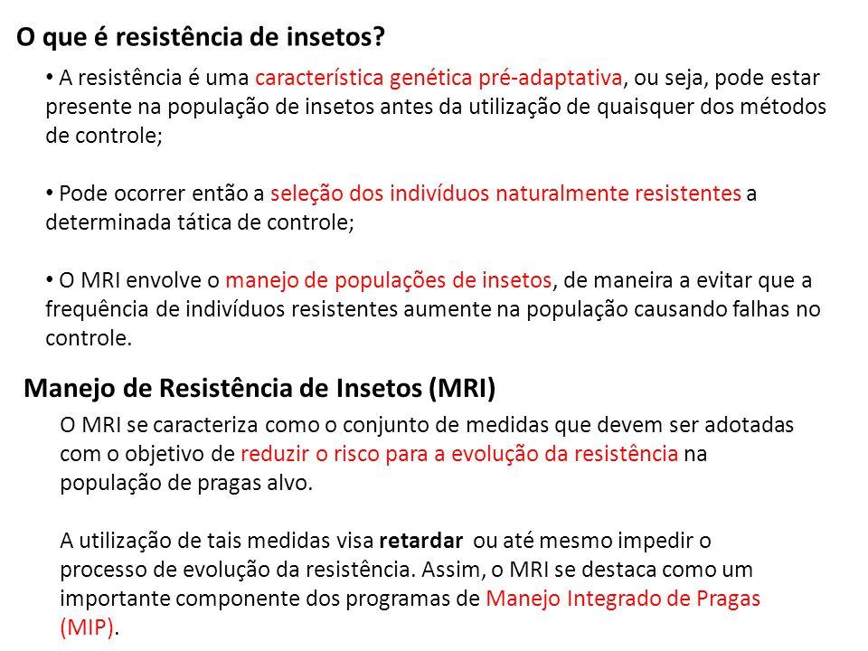 O que é resistência de insetos? A resistência é uma característica genética pré-adaptativa, ou seja, pode estar presente na população de insetos antes