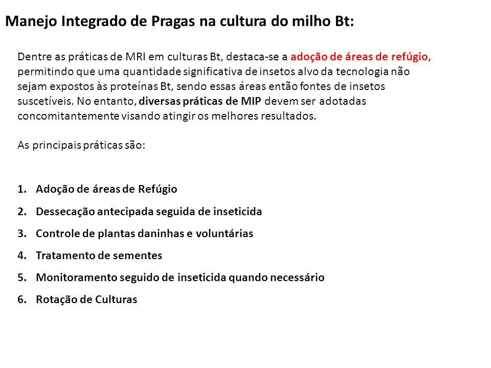 Considerações finais A rápida penetração da tecnologia Bt na cultura no milho no Brasil foi reflexo da boa eficiência no controle das principais pragas alvo, o que levou mais tranquilidade aos produtores.