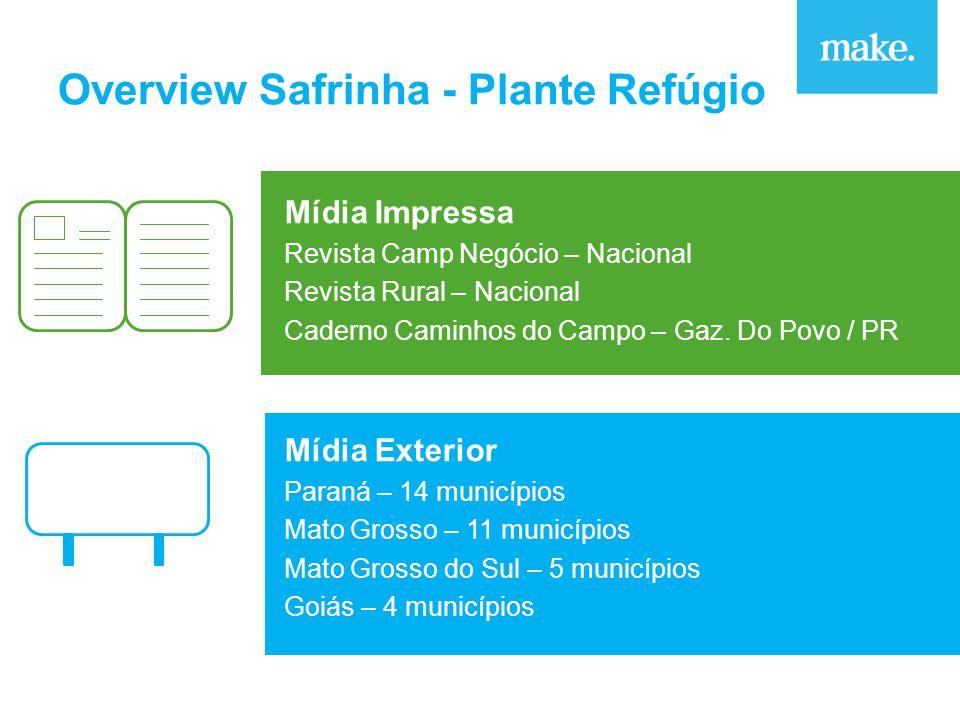 Overview Safrinha - Plante Refúgio Mídia Impressa Revista Camp Negócio – Nacional Revista Rural – Nacional Caderno Caminhos do Campo – Gaz.