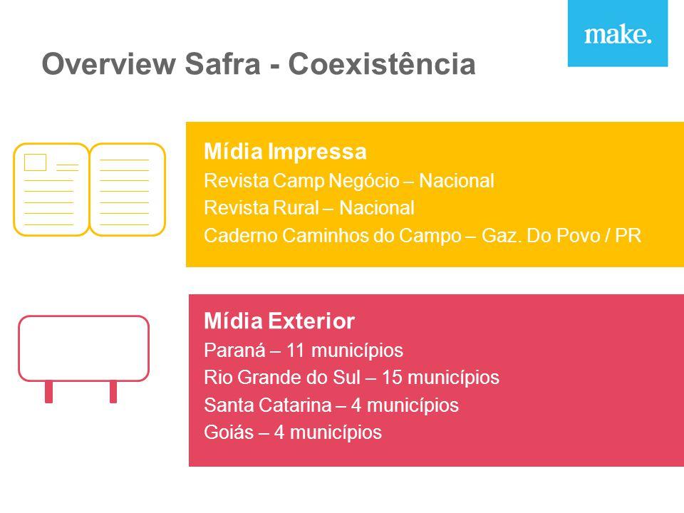 Overview Safra - Coexistência Mídia Impressa Revista Camp Negócio – Nacional Revista Rural – Nacional Caderno Caminhos do Campo – Gaz.