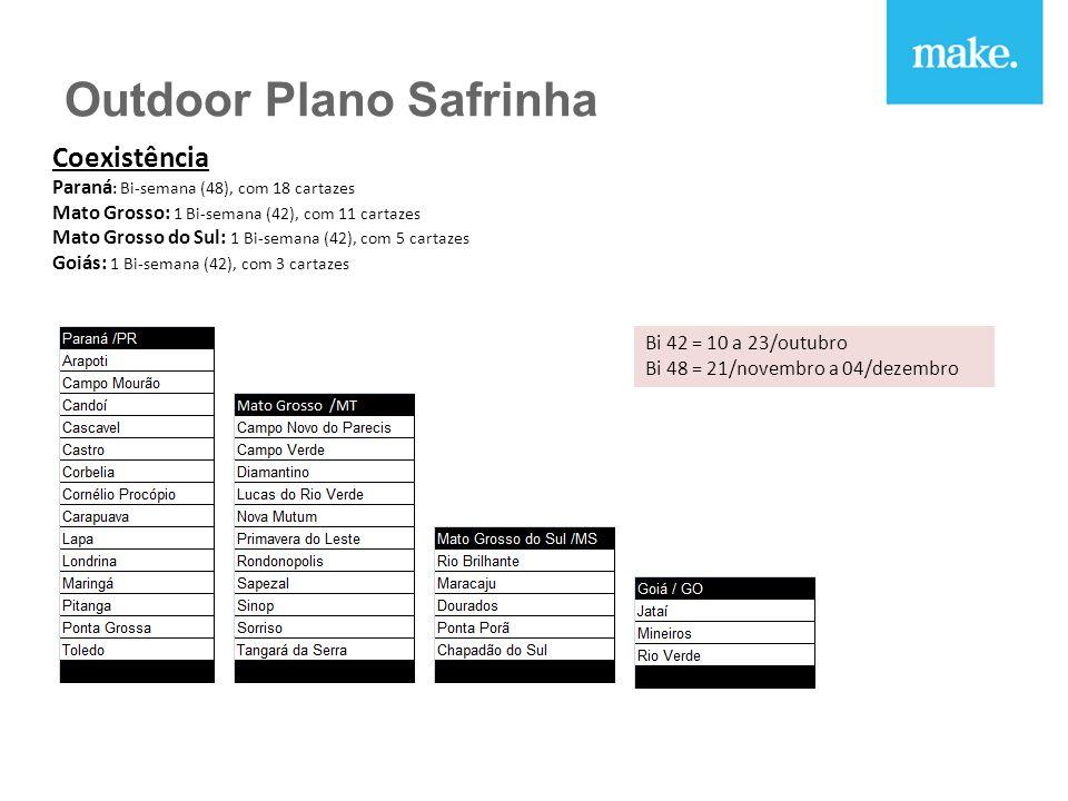 Coexistência Paraná : Bi-semana (48), com 18 cartazes Mato Grosso: 1 Bi-semana (42), com 11 cartazes Mato Grosso do Sul: 1 Bi-semana (42), com 5 cartazes Goiás: 1 Bi-semana (42), com 3 cartazes Bi 42 = 10 a 23/outubro Bi 48 = 21/novembro a 04/dezembro Outdoor Plano Safrinha