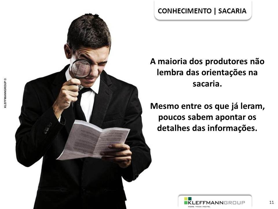 CONHECIMENTO | SACARIA 11 A maioria dos produtores não lembra das orientações na sacaria.