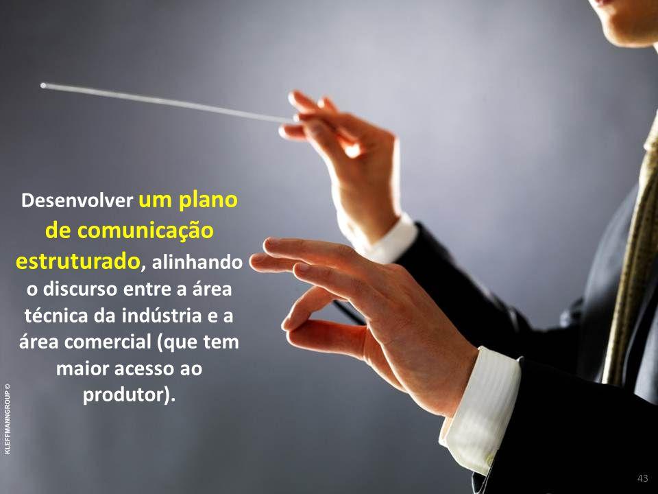 43 Desenvolver um plano de comunicação estruturado, alinhando o discurso entre a área técnica da indústria e a área comercial (que tem maior acesso ao produtor).
