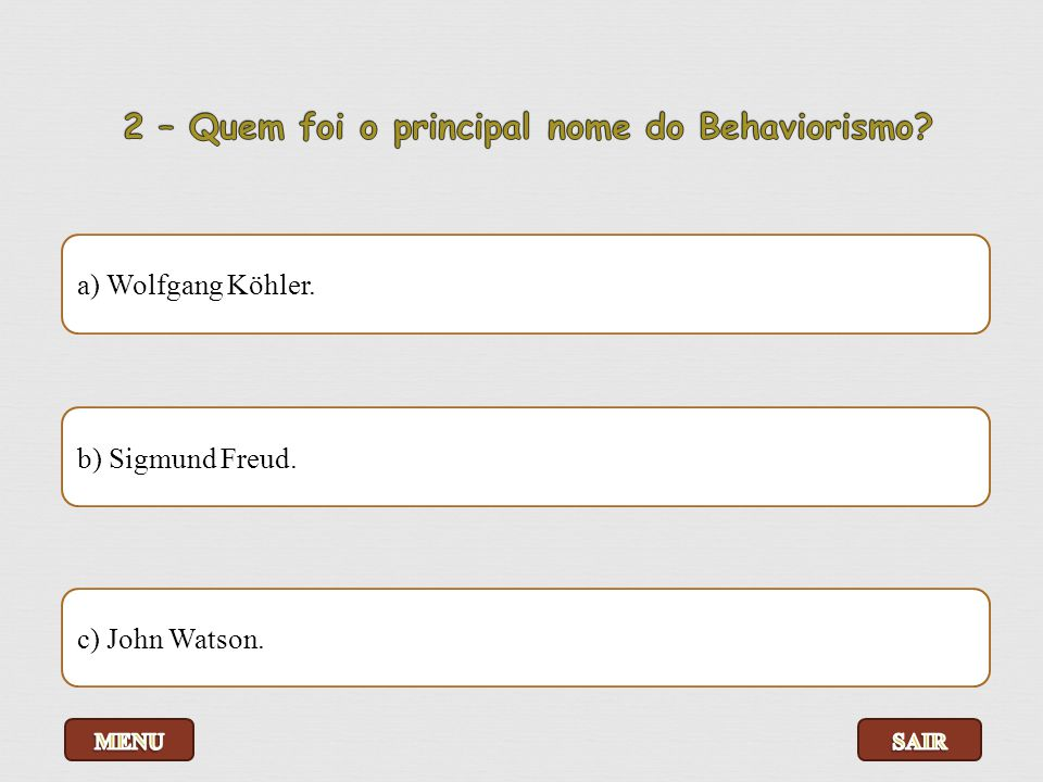 a) Wolfgang Köhler. b) Sigmund Freud. c) John Watson.