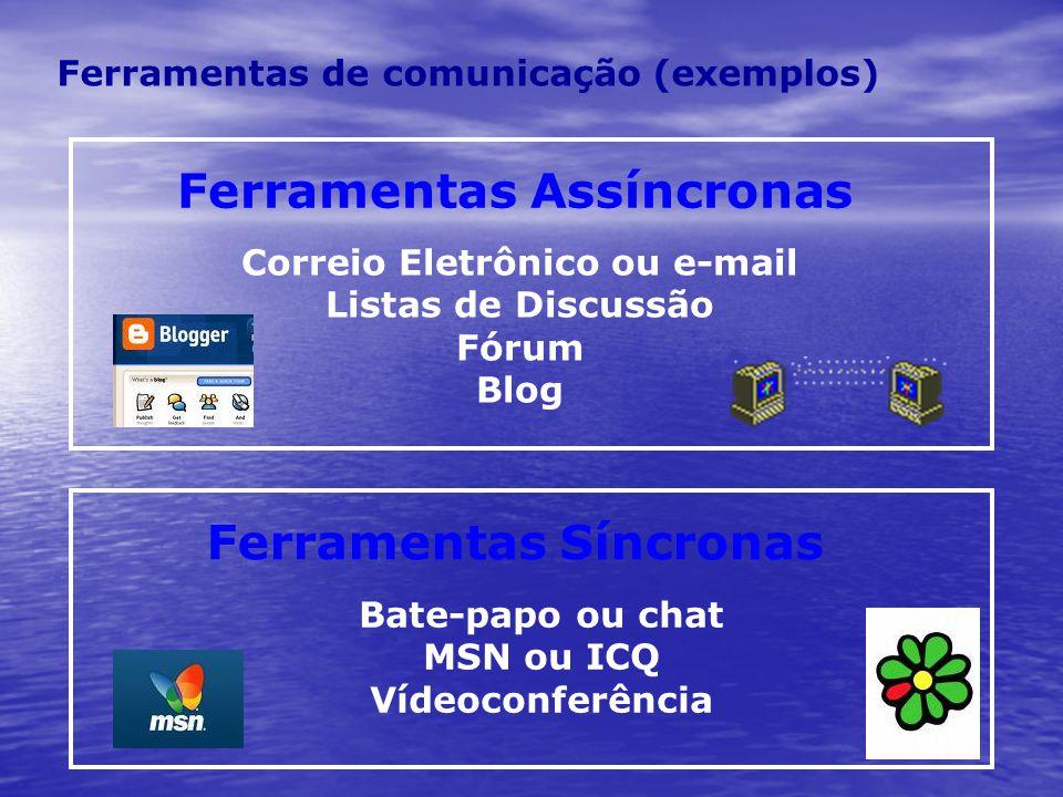 Ferramentas de comunicação (exemplos) Bate-papo ou chat MSN ou ICQ Vídeoconferência Correio Eletrônico ou e-mail Listas de Discussão Fórum Blog Ferram