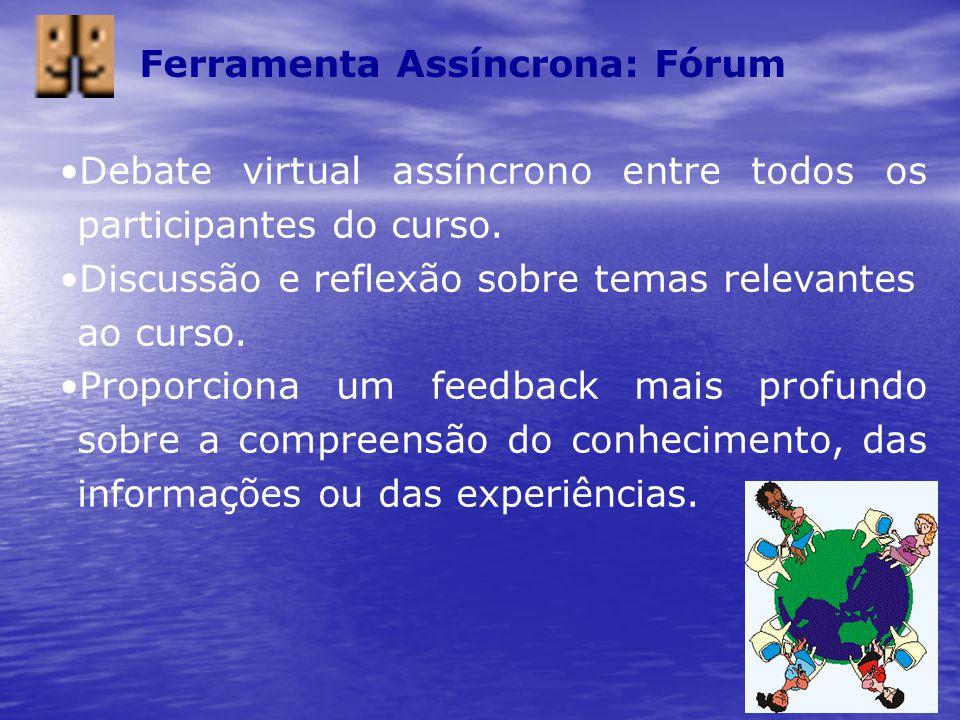 Ferramenta Assíncrona: Fórum Debate virtual assíncrono entre todos os participantes do curso. Discussão e reflexão sobre temas relevantes ao curso. Pr