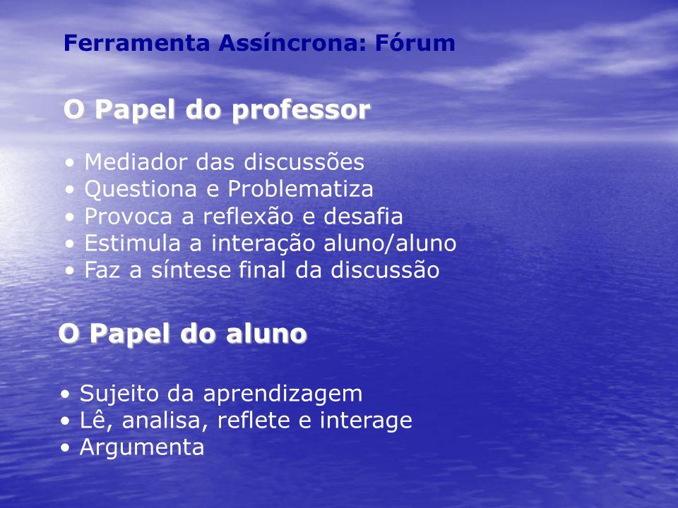 Ferramenta Assíncrona: Fórum O Papel do professor Mediador das discussões Questiona e Problematiza Provoca a reflexão e desafia Estimula a interação a