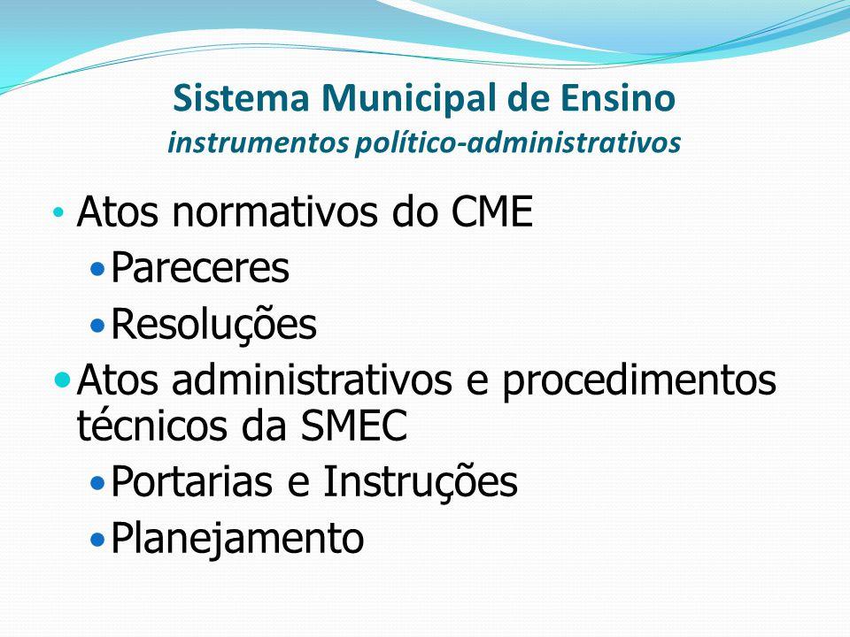 Sistema Municipal de Ensino instrumentos político-administrativos Atos normativos do CME Pareceres Resoluções Atos administrativos e procedimentos téc