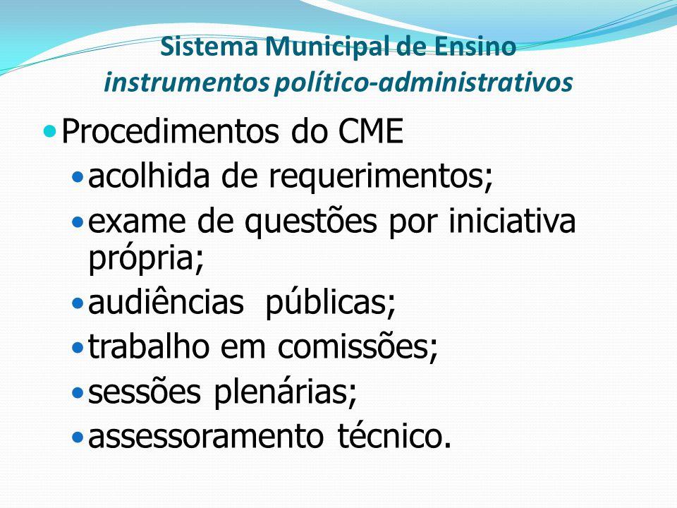 Sistema Municipal de Ensino instrumentos político-administrativos Procedimentos do CME acolhida de requerimentos; exame de questões por iniciativa pró