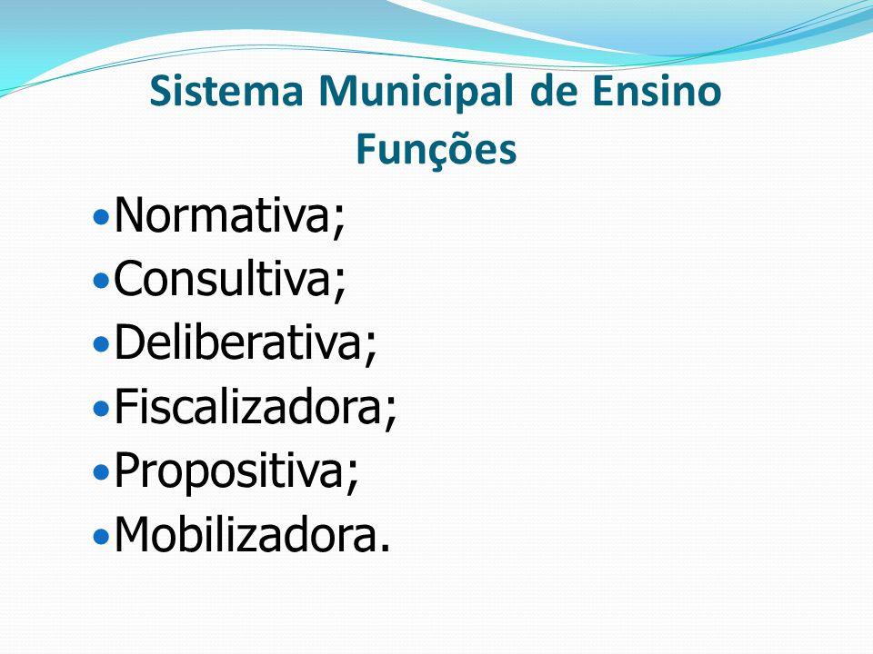 Sistema Municipal de Ensino Funções Normativa; Consultiva; Deliberativa; Fiscalizadora; Propositiva; Mobilizadora.