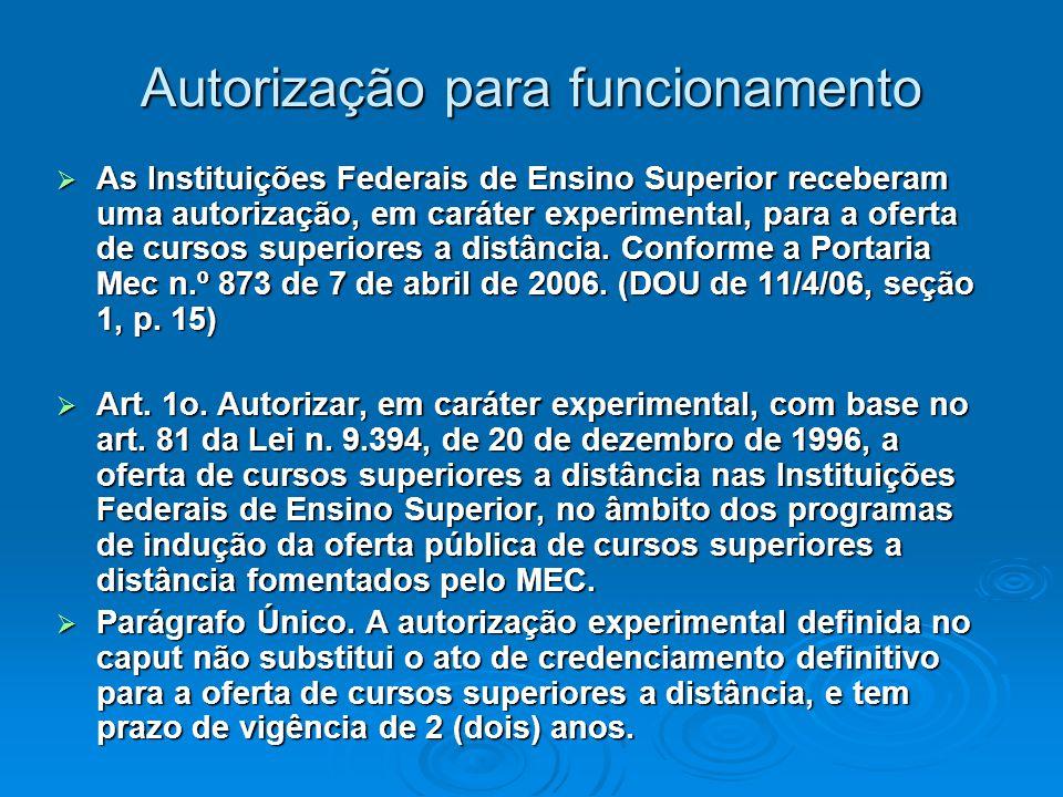 Autorização para funcionamento  As Instituições Federais de Ensino Superior receberam uma autorização, em caráter experimental, para a oferta de cursos superiores a distância.