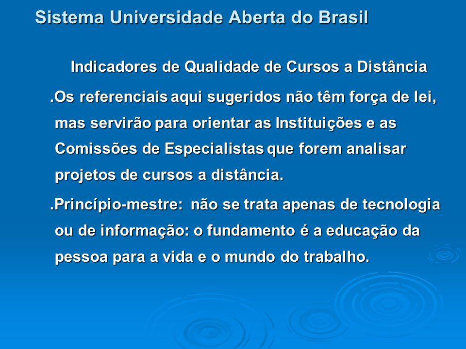 Sistema Universidade Aberta do Brasil Indicadores de Qualidade de Cursos a Distância Dez os itens básicos: 1.