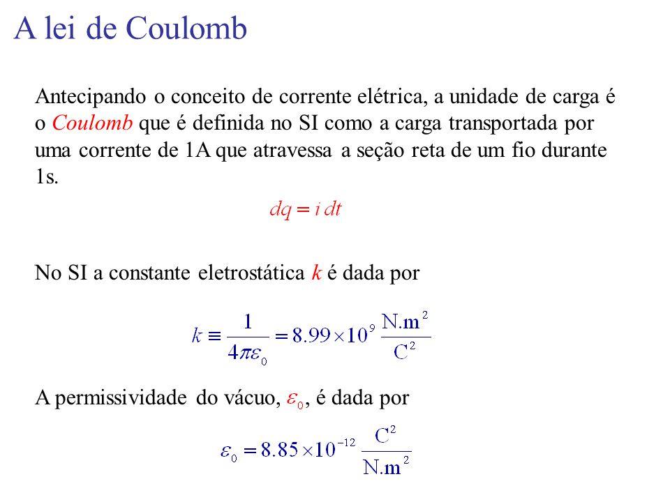 A lei de Coulomb Antecipando o conceito de corrente elétrica, a unidade de carga é o Coulomb que é definida no SI como a carga transportada por uma co
