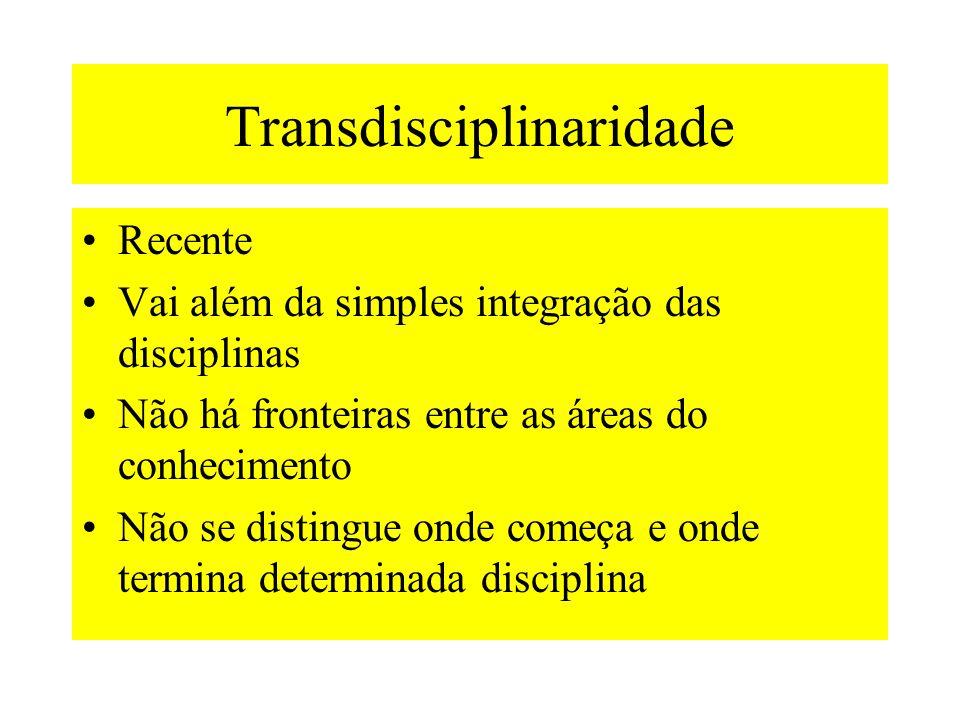 Transdisciplinaridade Recente Vai além da simples integração das disciplinas Não há fronteiras entre as áreas do conhecimento Não se distingue onde começa e onde termina determinada disciplina