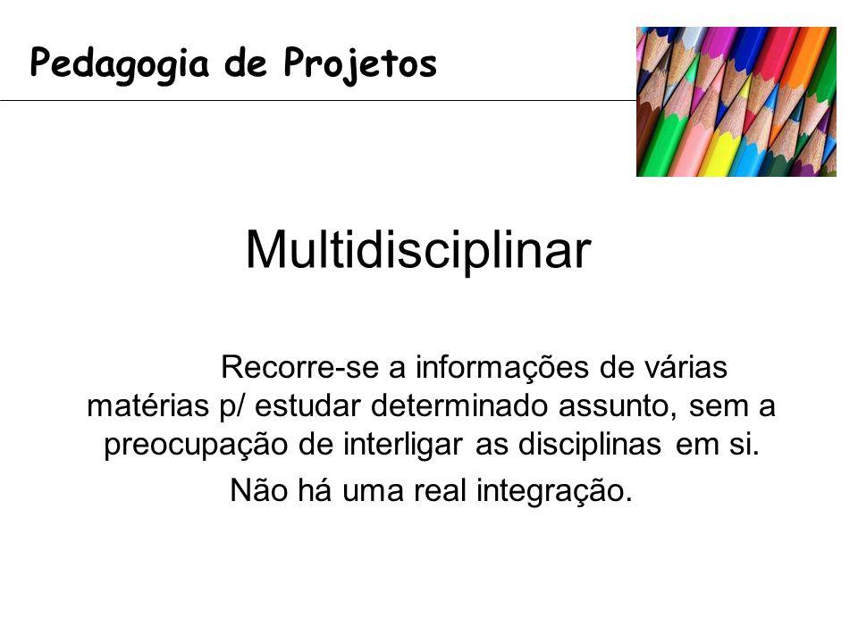 Multidisciplinar Recorre-se a informações de várias matérias p/ estudar determinado assunto, sem a preocupação de interligar as disciplinas em si.