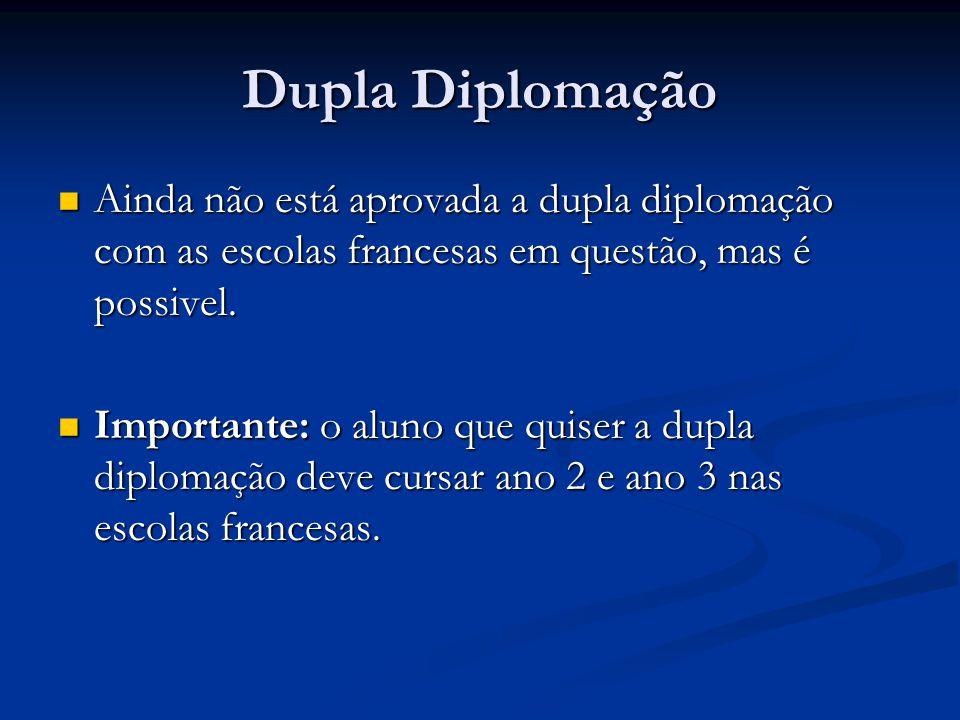Dupla Diplomação Ainda não está aprovada a dupla diplomação com as escolas francesas em questão, mas é possivel.