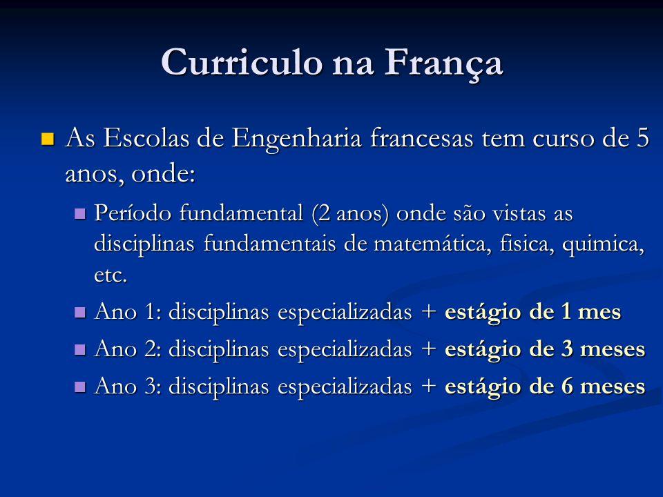 Curriculo na França As Escolas de Engenharia francesas tem curso de 5 anos, onde: As Escolas de Engenharia francesas tem curso de 5 anos, onde: Período fundamental (2 anos) onde são vistas as disciplinas fundamentais de matemática, fisica, quimica, etc.
