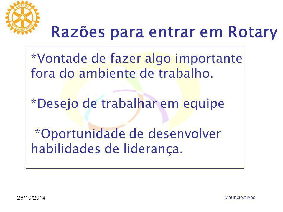 26/10/2014 Razões para entrar em Rotary *Vontade de fazer algo importante fora do ambiente de trabalho. *Desejo de trabalhar em equipe *Oportunidade d