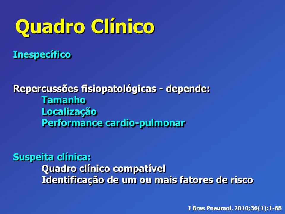 Quadro Clínico Inespecífico Repercussões fisiopatológicas - depende:TamanhoLocalização Performance cardio-pulmonar Suspeita clínica: Quadro clínico co