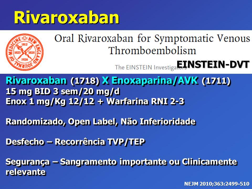 Rivaroxaban (1718) X Enoxaparina/AVK (1711) 15 mg BID 3 sem/20 mg/d Enox 1 mg/Kg 12/12 + Warfarina RNI 2-3 Randomizado, Open Label, Não Inferioridade