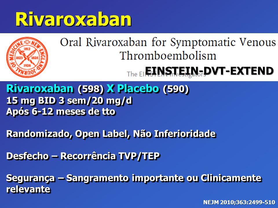 Rivaroxaban (598) X Placebo (590) 15 mg BID 3 sem/20 mg/d Após 6-12 meses de tto Randomizado, Open Label, Não Inferioridade Desfecho – Recorrência TVP