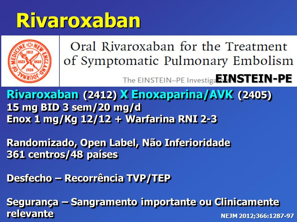 Rivaroxaban (2412) X Enoxaparina/AVK (2405) 15 mg BID 3 sem/20 mg/d Enox 1 mg/Kg 12/12 + Warfarina RNI 2-3 Randomizado, Open Label, Não Inferioridade