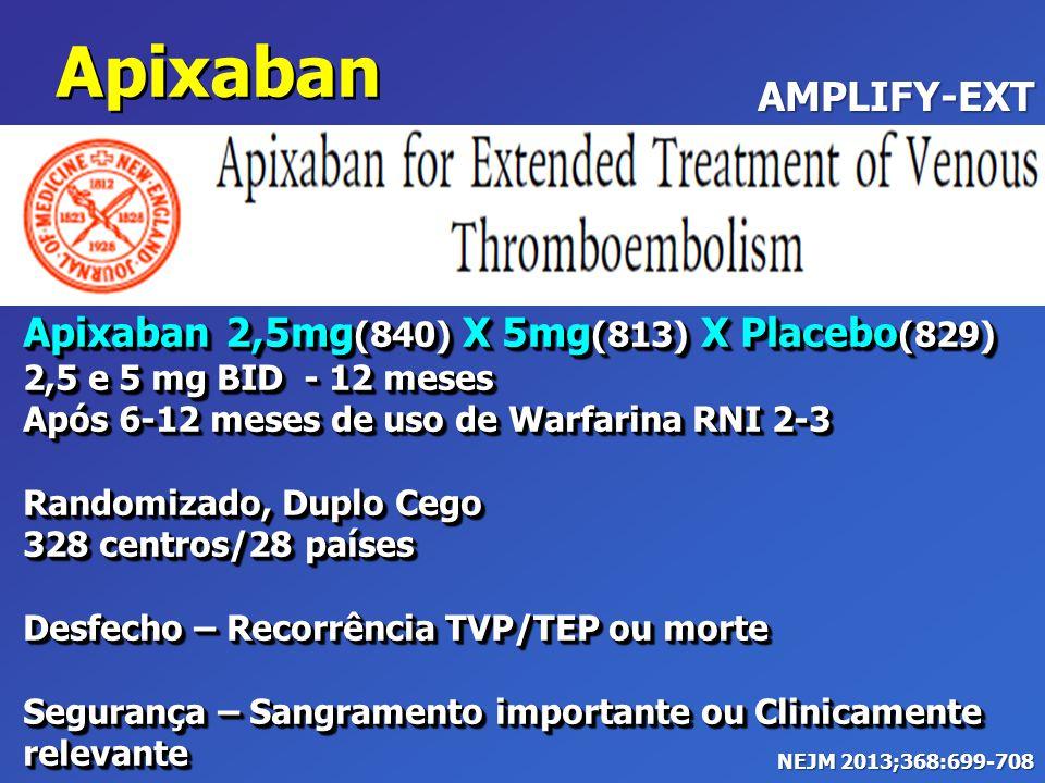 Apixaban 2,5mg (840) X 5mg (813) X Placebo (829) 2,5 e 5 mg BID - 12 meses Após 6-12 meses de uso de Warfarina RNI 2-3 Randomizado, Duplo Cego 328 cen