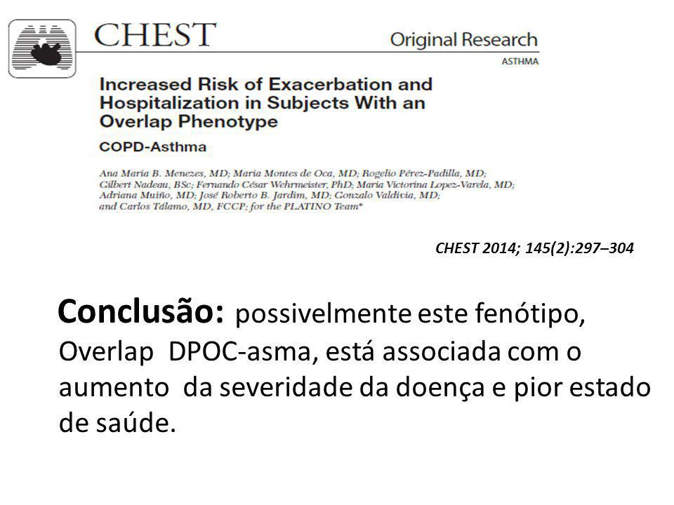 Conclusão: possivelmente este fenótipo, Overlap DPOC-asma, está associada com o aumento da severidade da doença e pior estado de saúde.