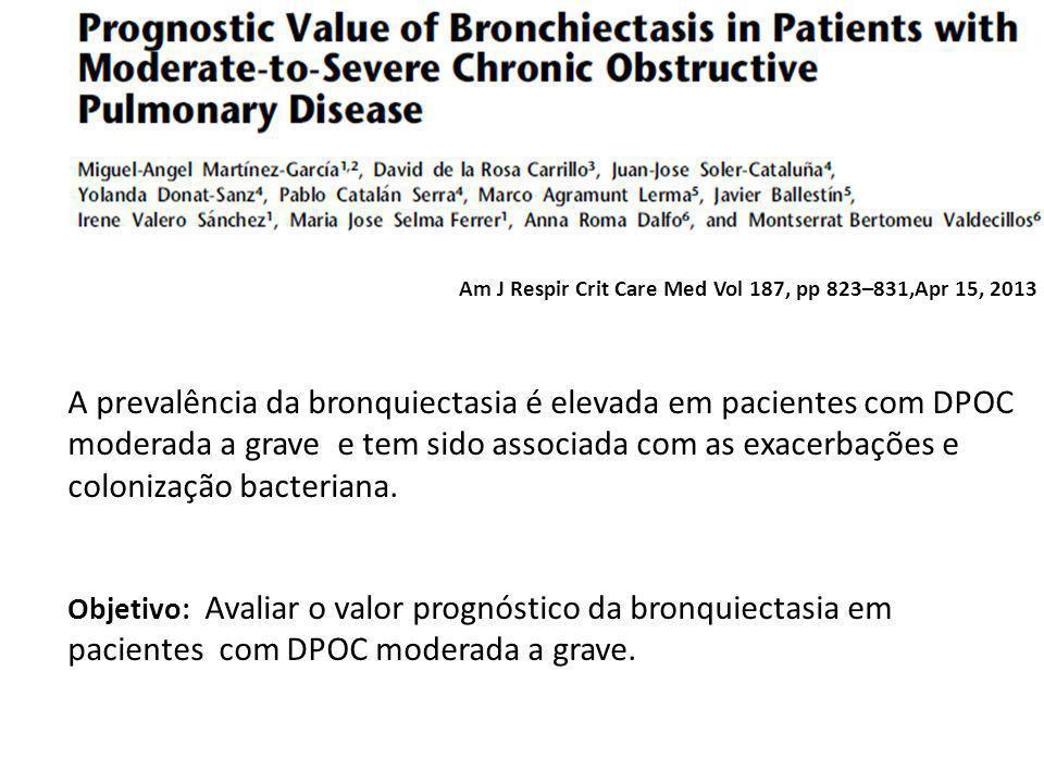 Am J Respir Crit Care Med Vol 187, pp 823–831,Apr 15, 2013 A prevalência da bronquiectasia é elevada em pacientes com DPOC moderada a grave e tem sido