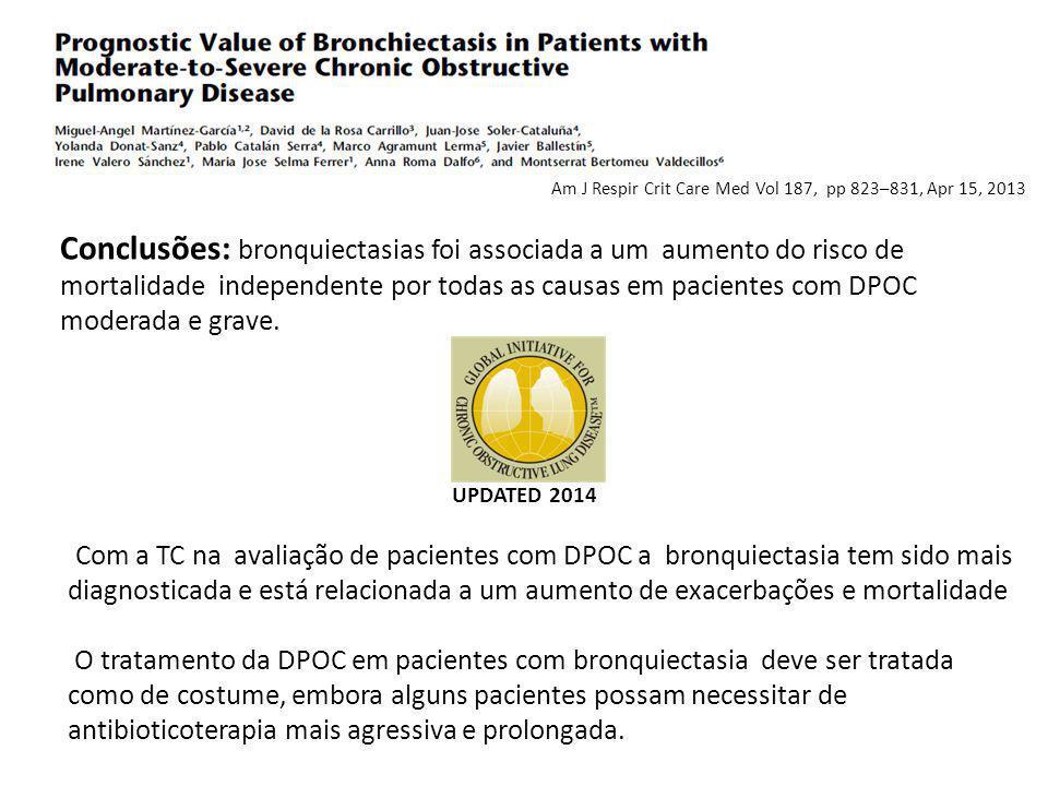 Conclusões: bronquiectasias foi associada a um aumento do risco de mortalidade independente por todas as causas em pacientes com DPOC moderada e grave