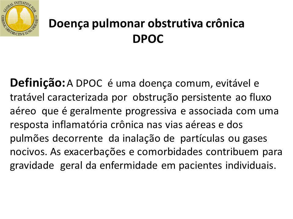 Definição: A DPOC é uma doença comum, evitável e tratável caracterizada por obstrução persistente ao fluxo aéreo que é geralmente progressiva e associ