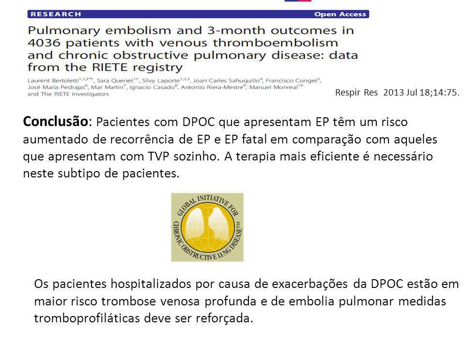 Conclusão: Pacientes com DPOC que apresentam EP têm um risco aumentado de recorrência de EP e EP fatal em comparação com aqueles que apresentam com TV