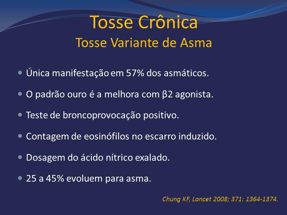 Tosse Crônica Tosse Variante de Asma Única manifestação em 57% dos asmáticos. O padrão ouro é a melhora com β2 agonista. Teste de broncoprovocação pos